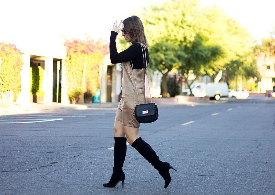 how to wear a slip dress, how to style a slip dress, how to wear a slip dress during the day, silk slip dress, gold slip dress, slip dress outfit, black turtleneck, what to wear with a black turtleneck, black OTK boots, black boots, knee high boots, over-the-knee boots, fall fashion, holiday fashion, what to wear to a holiday party
