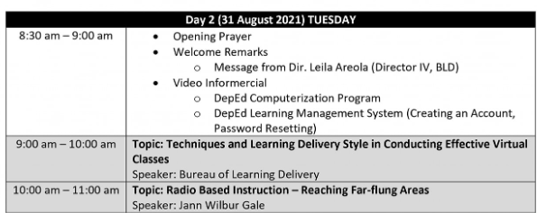 DAY 2 SESSION   DEPED SECOND VIRTUAL INSET   TOPICS & SPEAKERS   AUGUST 31, 2021