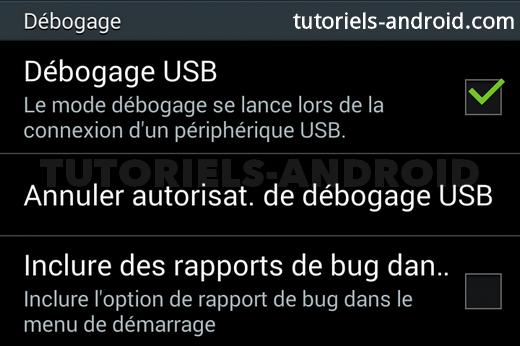case débogage USB cochée