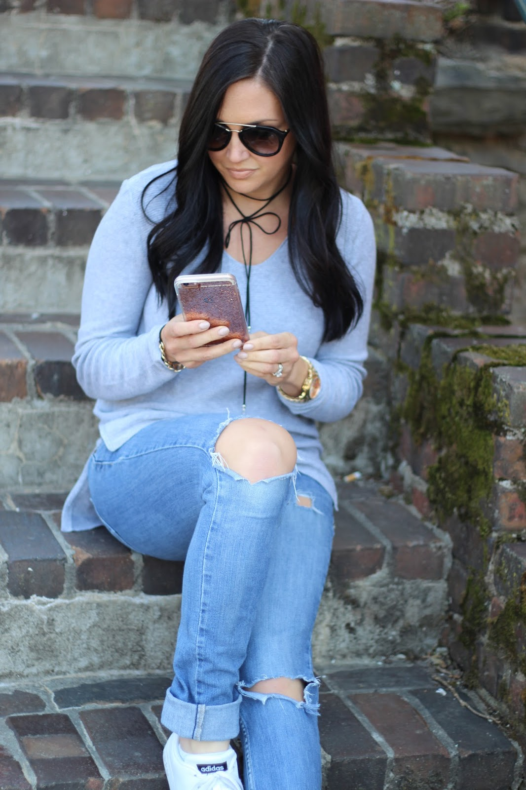 Adidas clean, Kate Spade case, distressed casual look via Stilettos and Diapers
