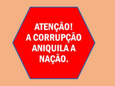 A imagem diz: atenção a corrupção aniquila a nação.Os atos de corrupções no Brasil também terríveis atos de vandalismos prejudicial a nação.