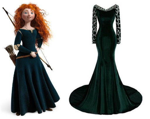 Disney Inspired prom dresses to wear brave princess merida dark green velvet dress