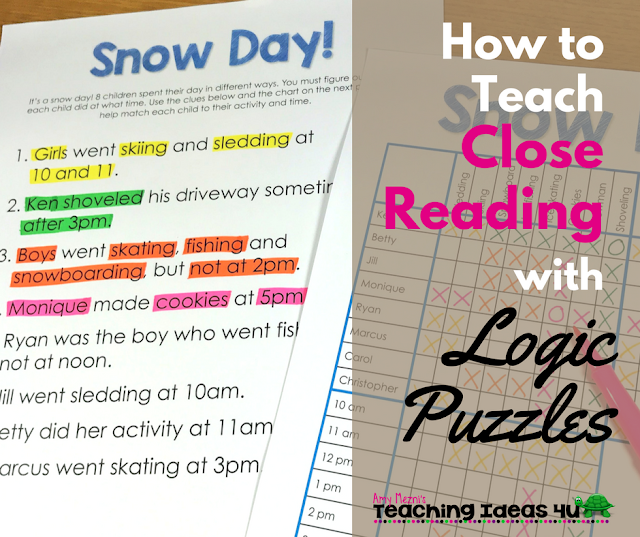 Learn how to teach logic puzzles to improve students' close reading skills. Post discusses why logic puzzles are a good way to teach students to focus on details, as well as shows step by step how to complete a logic puzzle.