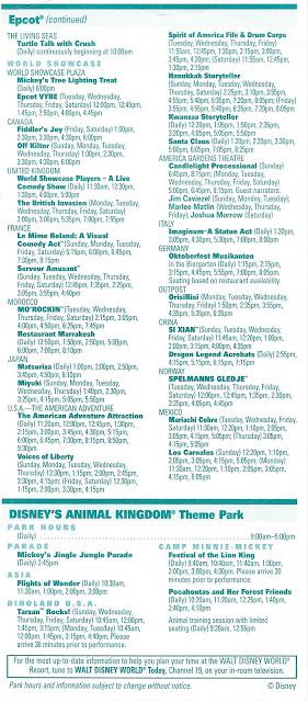Times Guide All Four Parks Walt Disney World December 5-11 2004
