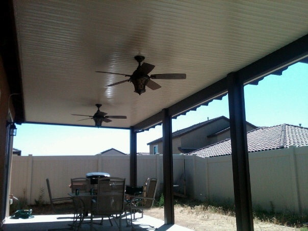 lapham construction  patio cover with ceiling fans in