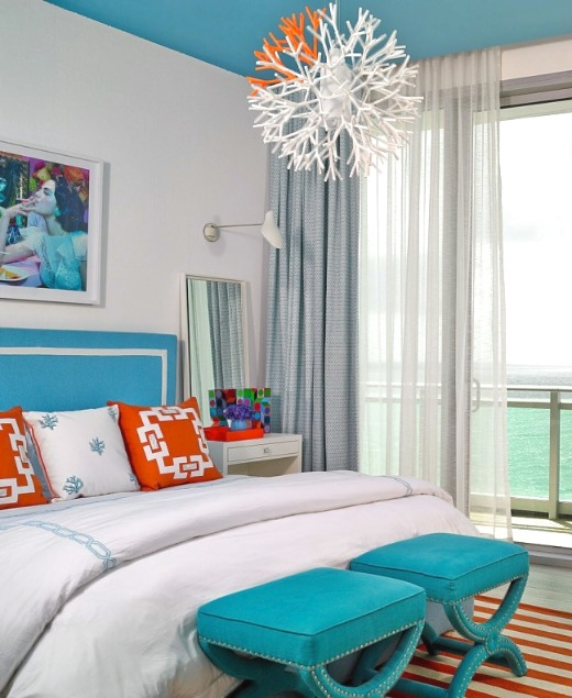 Coral and Turquoise Coastal Bedroom