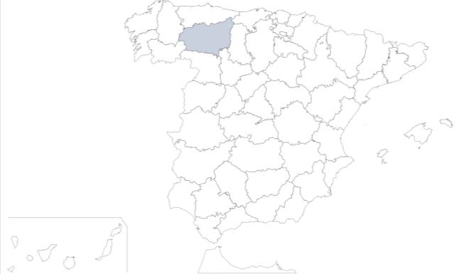Provincia de León (Castilla y León) en mapa de España