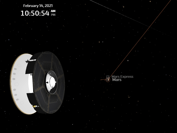 A computer-generated screenshot showing the Mars 2020 spacecraft's current position from the Red Planet...on February 14, 2021.