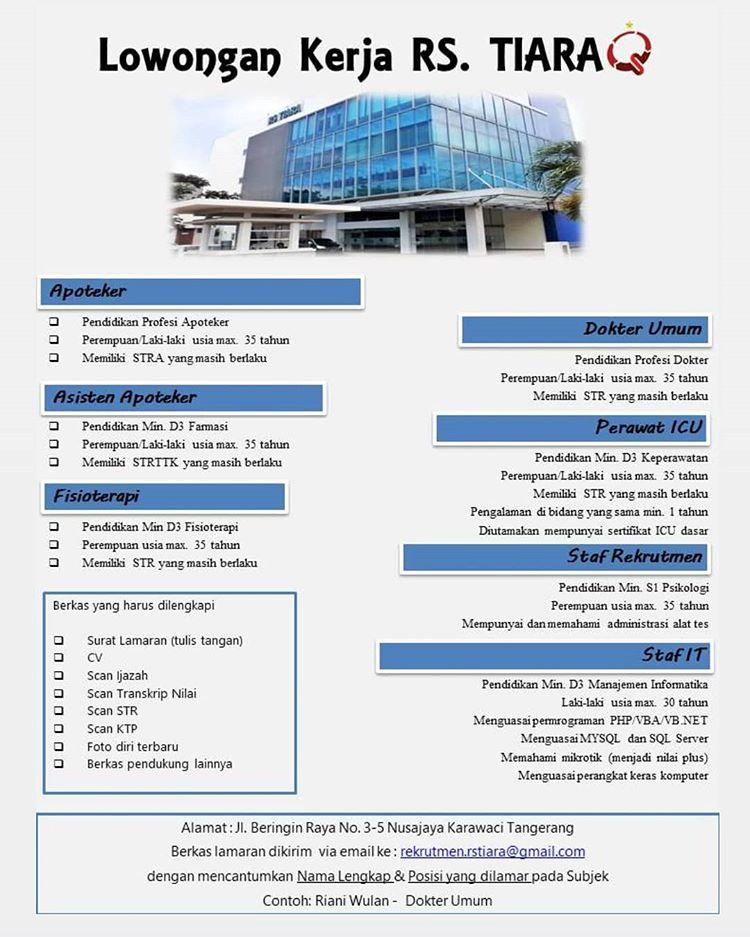 Lowongan Kerja Besar Besaran Rumah Sakit Tiara Tangerang