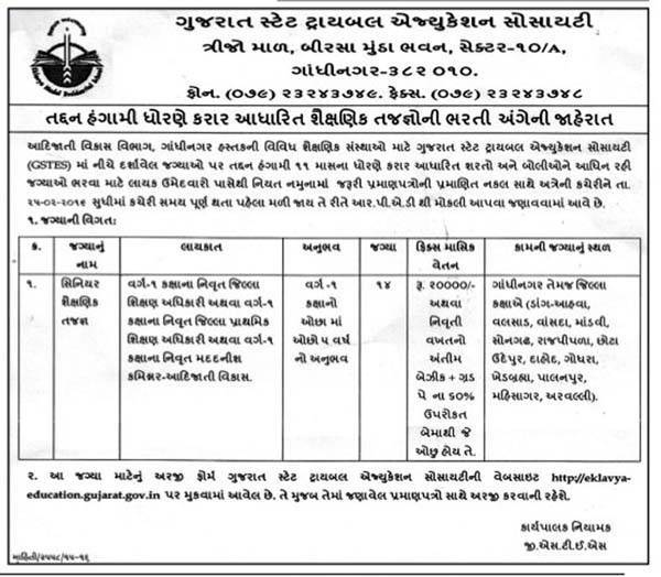 Gujarat State Tribal Education Society Recruitment 2016
