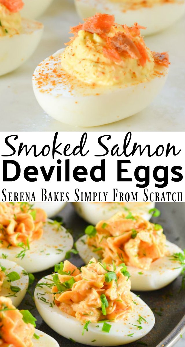 Smoked Salmon Deviled Eggs are a favorite twist on the classic deviled eggs from Serena Bakes Simply From Scratch.