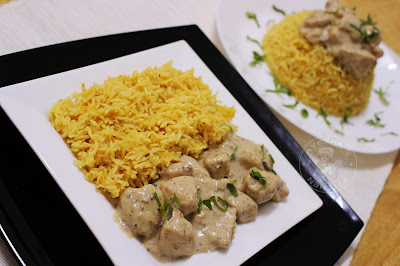 biryani with n italian and indian fusion..afredo chicken with indian spiced biryani rice