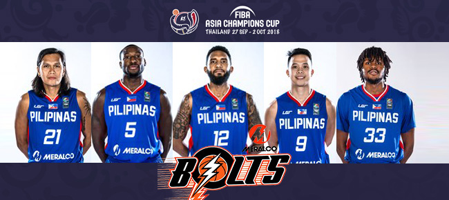 Meralco Bolts Final 12-man lineup for 2018 FIBA Asia Champions Cup