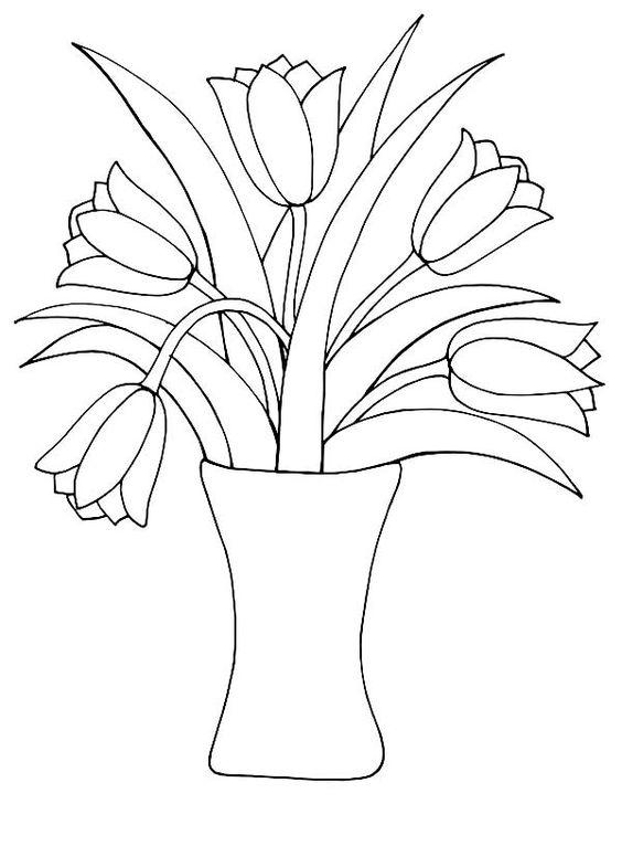 Tranh tô màu bình hoa Tulip