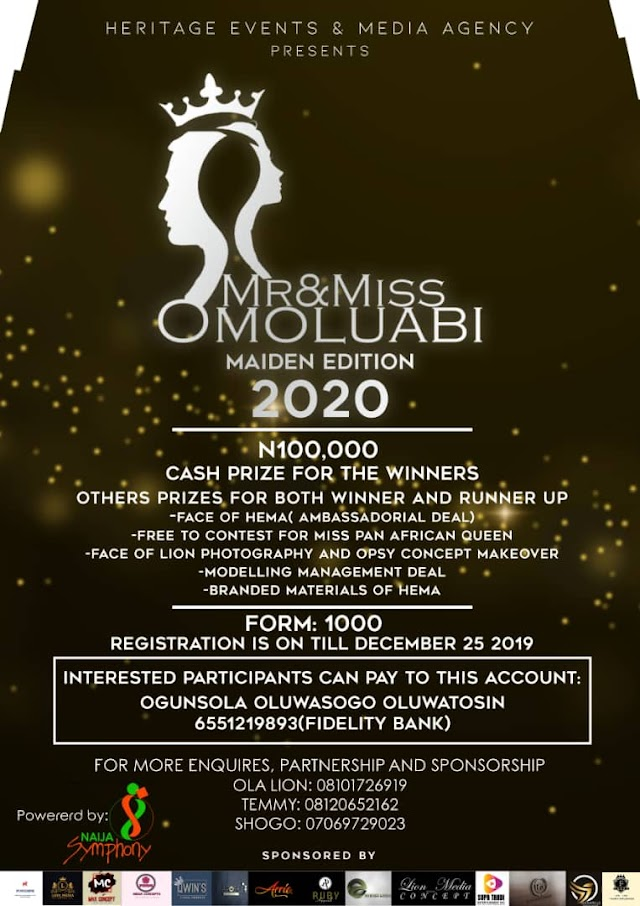 Heritage Event And Media Agency Presents Mr & Miss Omoluabi Maiden Edition 2020