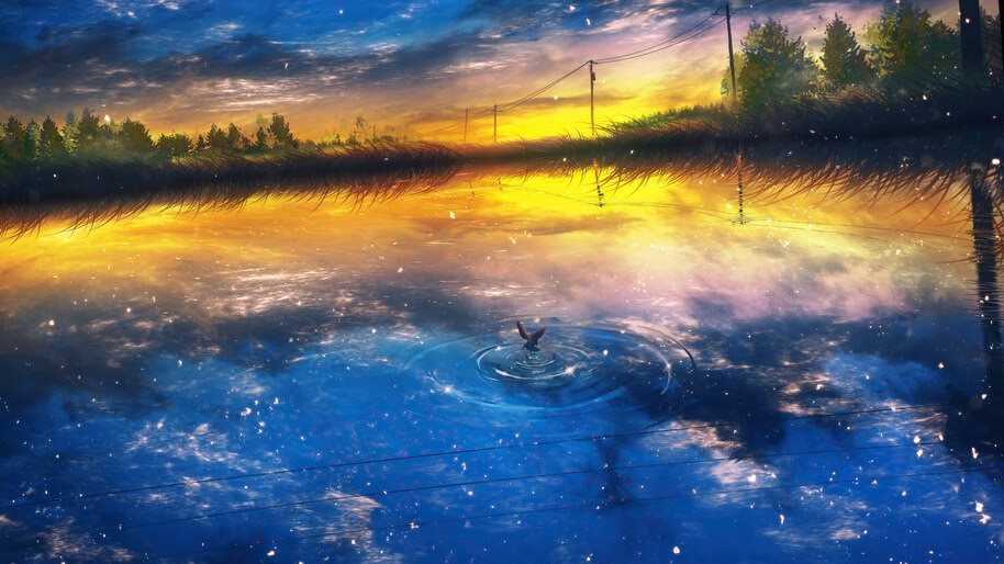 Beautiful, Anime, Sunet, Scenery, Lake, Sky, Reflection, 4K, #6.1298