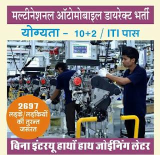 Freshers 10th Pass/ 12th Pass/ ITI- All trades  / Diploma Job Vacancy in Automobile Company Haridwar, Uttarakhand