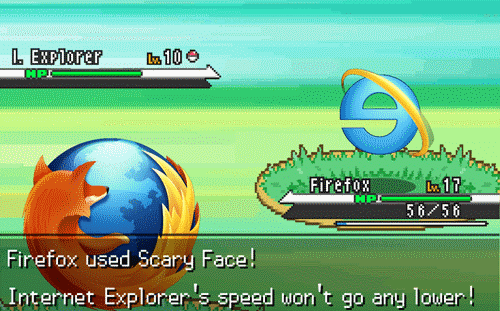 A pokemon battle between internet browsers