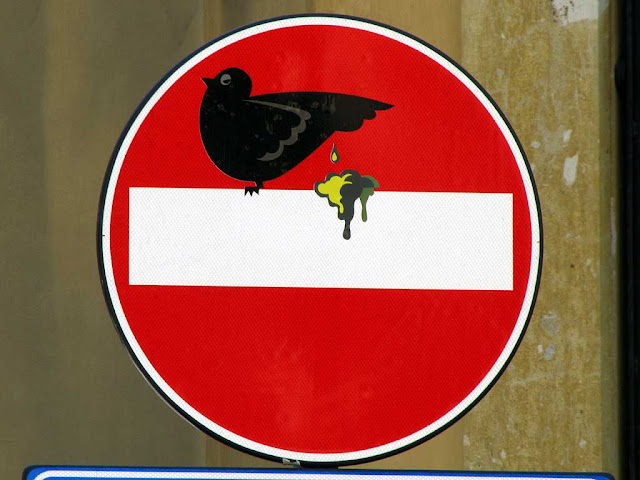 Clet Abraham, pigeon and its dejection on a no entry sign, via  del Porticciolo, Livorno