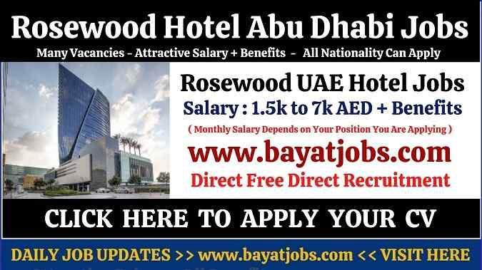 Rosewood Hotel Latest Jobs Openings In Abu Dhabi