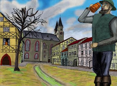 Langer Mann trinkt Bier auf dem Orlaplatz in Hof