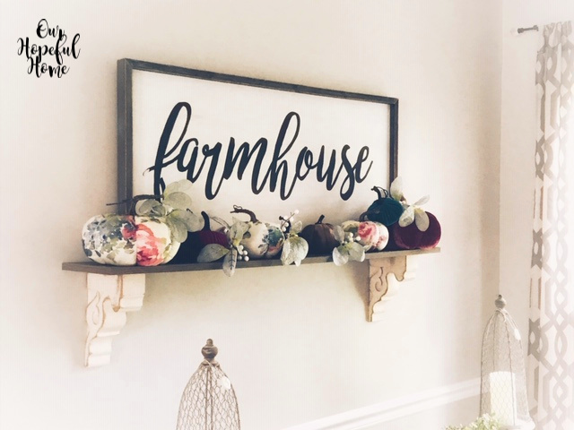 farmhouse sign rustic vintage corbel shelf