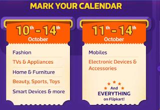 Calendar of Flipkart Big Billion Days on 10th - 14th October