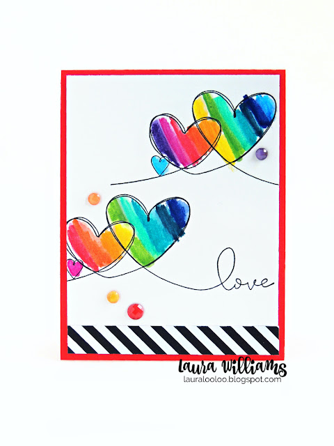 Looking for colorful handmade Valentine card ideas? This one simple heart stamp from Impression Obsession is the only thing you need to make a variety of simple Valentine cards in any color or style. Click to see more ideas with the Triple Heart Love red rubber stamp from IO Stamps.