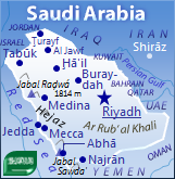 Detailed map of Saudi Arabia