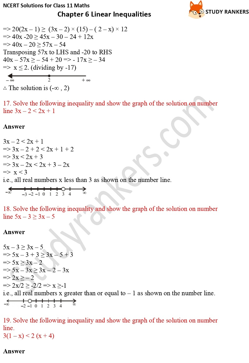 NCERT Solutions for Class 11 Maths Chapter 6 Linear Inequalities 6