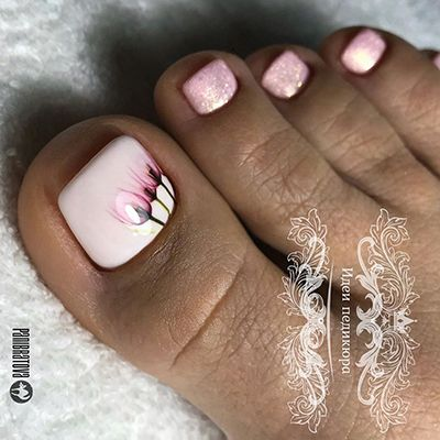 unhas dos pés decoradas rosa