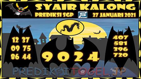 Prediksi Syair Kalong SGP Rabu 27-Jan-2021