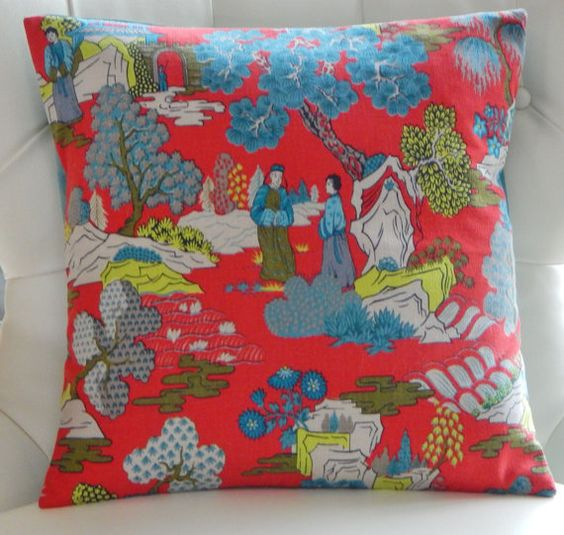 Chippendale Bark Cloth Fabric by Markwood, asian fabric, toile fabric, chinoiserie pillow