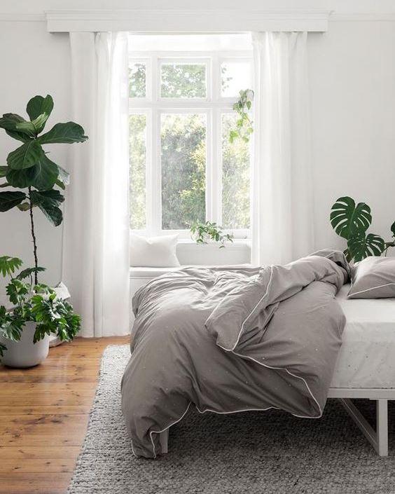 COZY BEDROOM INTERIOR DESIGNS WITH PLANTS
