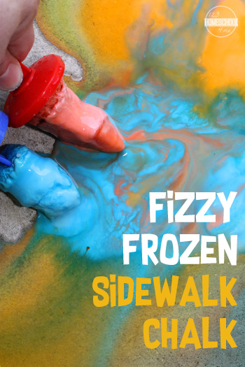 Fizzy Frozen Sidewalk Chalk is a great kids activities for summer fun!! Easy-to-make DIY Chalk Paint that wont get all over your kids hands