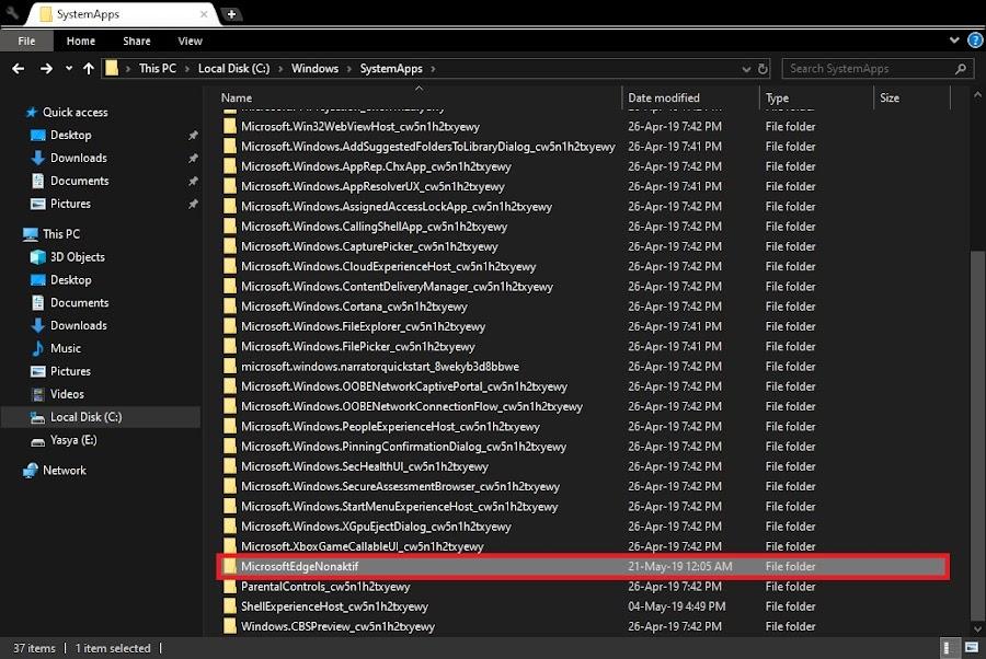 Mengubah nama Folder Microsoft Edge