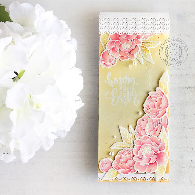 Sunny Studio Stamps: Pink Peonies Eyelet Lace Border Dies Easter Card by Candice Fisher