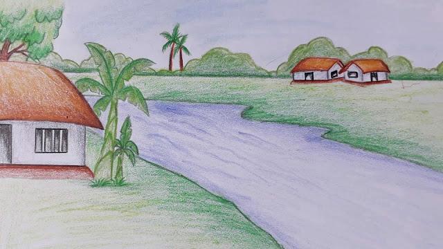 رسم مناظر طبيعية بالالوان الخشبية