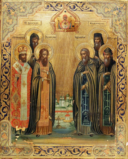 Russian Icon of the Synaxis of the Saints of the Solovetsky Monastery