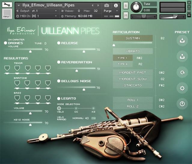 Interface da Library Ilya Efimov - Uilleann Pipes (KONTAKT)
