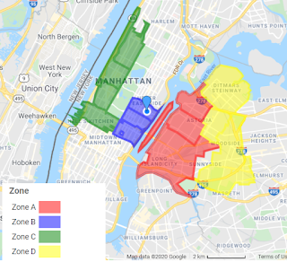 Example ZIP Code map created with Custom Color-Coded Map tool