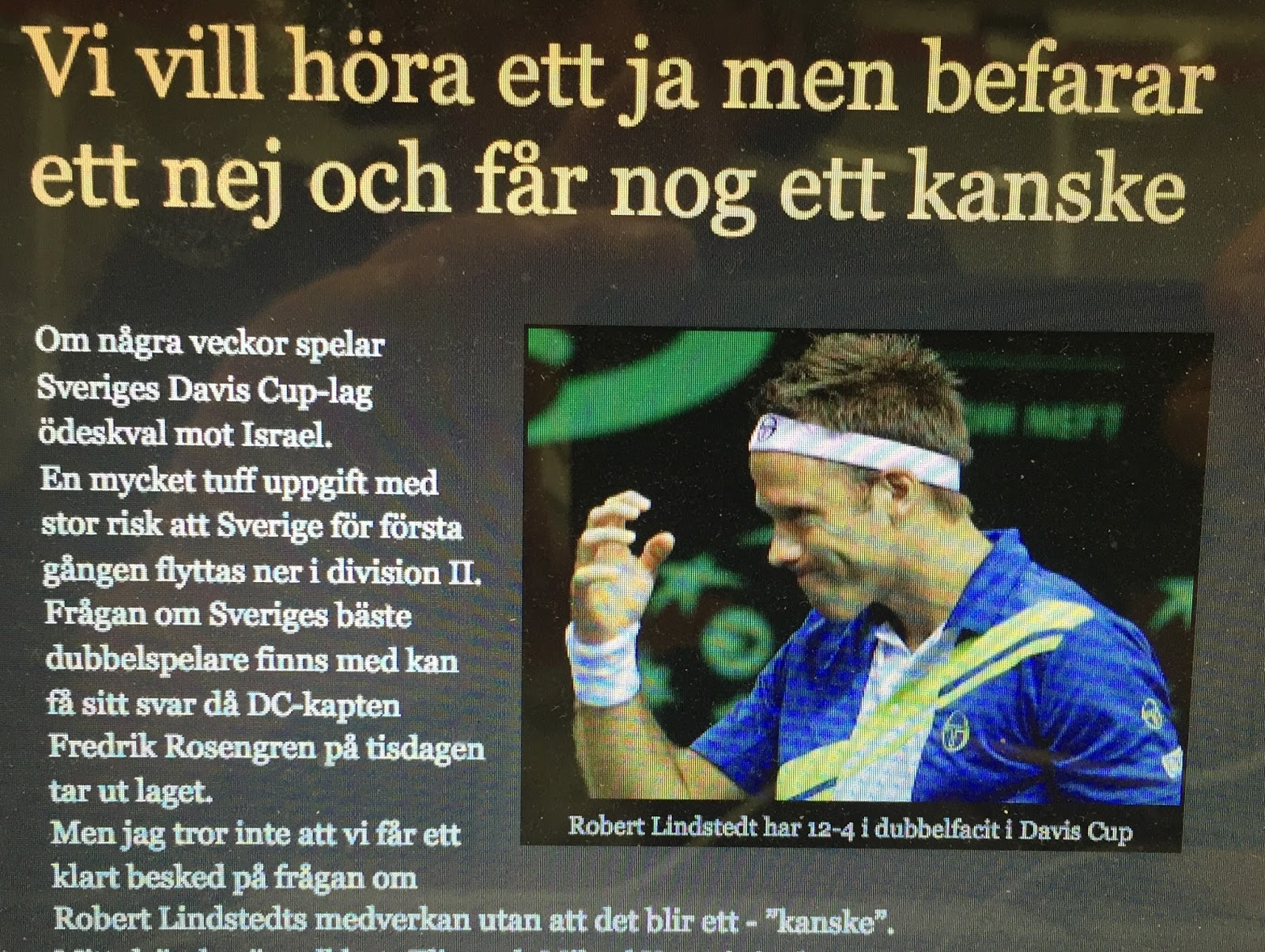 Robert lindstedt mot favoriter