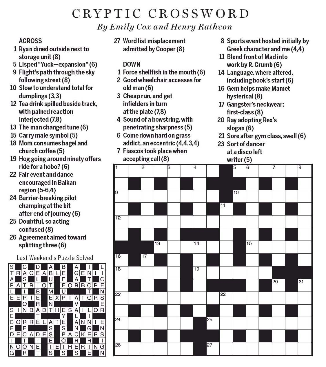 National Post Cryptic Crossword Forum 2019