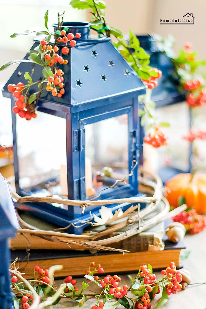 Blue lantern centerpiece on a fall tablescape