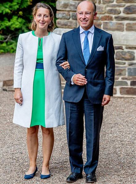 Hereditary Princess Stephanie wore a new sleeveless v-neckline crepe midi dress from Paule Ka. Princess Claire wore a new button front long dress from Zimmermann