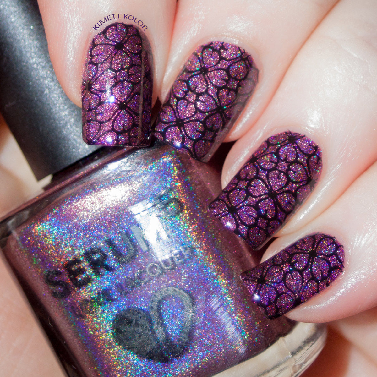 KimettKolor Simple Stamping Nail Art with Plum Luck and FabUrNails