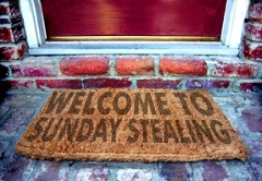 Sunday Stealing welcome mat image for blog hop