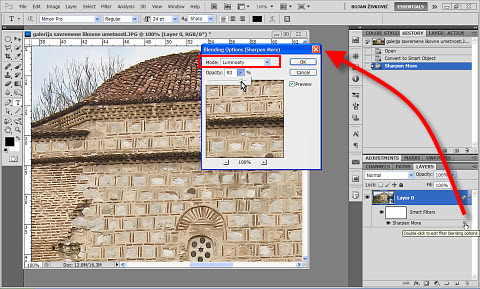 Open Blending Options dialog when working with Smart Object in Adobe Photoshop