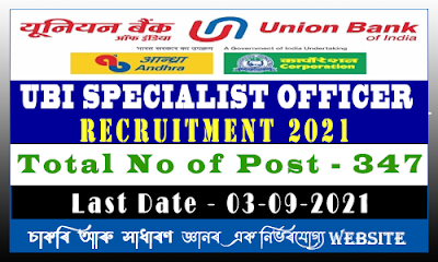 Union Bank of India Specialist Officer Recruitment 2021(347 Post)