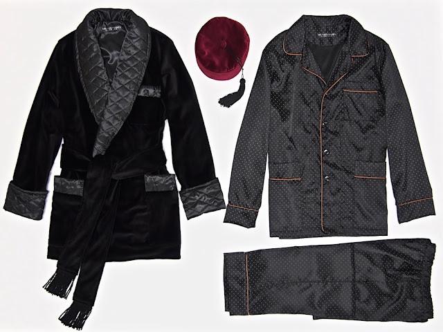 mens black velvet smoking jacket quilted silk dressing gown pajamas set smoking cap